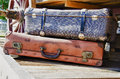 Vintage suitcases hdr travel accessories old fashioned Stock Photography