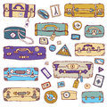 Vintage suitcases set travel vector illustration collection of Royalty Free Stock Image