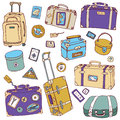 Vintage suitcases set travel vector illustration collection of Royalty Free Stock Photo