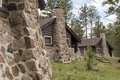 Vintage summer cabins exterior view Royalty Free Stock Photo
