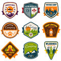 Vintage summer camp and outdoor badges Stock Image