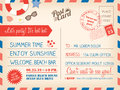 Vintage summer holiday postcard background template for invitati Royalty Free Stock Photo