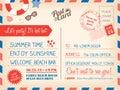 Vintage summer holiday postcard background template for invitati