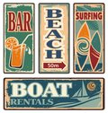 Vintage summer holiday signs set of beach vector collection retro vacation design elements and poster design templates Royalty Free Stock Photo