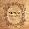 Vintage summer postcard. Vector illustration. Royalty Free Stock Photo