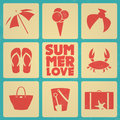 Vintage summer poster with icons retro colors and beach elements Royalty Free Stock Photo