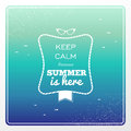 Vintage summertime holidays poster retro keep calm summer is here sunglasses water splash illustration vector file layered for Royalty Free Stock Photo