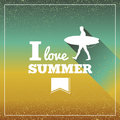 Vintage summertime vacations poster retro i love summer text surfing board man concept vector file layered for easy manipulation Royalty Free Stock Photos