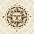 Vintage sun compass rose Royalty Free Stock Photo