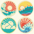 Vintage sun and sea waves vector icons of illust illustration seascape Royalty Free Stock Photo