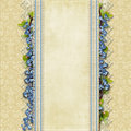 Vintage superb background with lace and blue flowers beautiful place for photo text Royalty Free Stock Photography