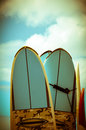 Vintage surf boards hawaii image of retro styled Stock Photography
