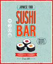 Vintage sushi bar poster vector illustration Stock Images