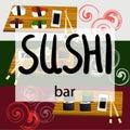 Vintage Sushi Bar Poster. Vector illustration.