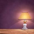 Vintage Table Lamp On Purple B...