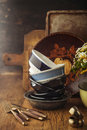 Vintage tableware cutlery on dark brown wooden backround Stock Photo