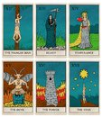 Vintage tarot deck, old style illustrations