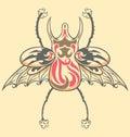 Vintage Tattoo Beetle Royalty Free Stock Photo