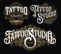 Vintage tattoo lettering logo set. Highly detailed tattoo emblems, logo, badges and t-shirt graphics.