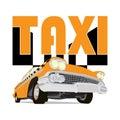 Vintage taxi car cartoon sketch