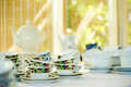 Vintage tea set retro with bamboo background selective focus Stock Photos