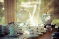 Vintage tea set retro with bamboo background selective focus Stock Photography