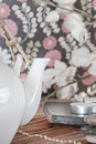 Vintage tea setting Stock Photo