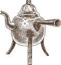Vintage teapot vector drawing of the old Royalty Free Stock Photos