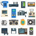 Vintage technologies camera phone retro audio icon vector set. Royalty Free Stock Photo