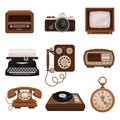 Vintage technologies set, retro radio, photo camera, tv, typewriter, payphone, vinyl player, pocket watch vector Royalty Free Stock Photo