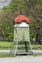 Vintage telephone booth on the street Royalty Free Stock Photo