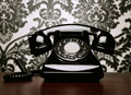 Vintage telephone at the desk Royalty Free Stock Photo