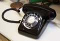 Vintage telephone style black color Stock Photo