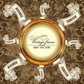 Vintage template Background with Label scroll Royalty Free Stock Images