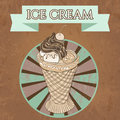 Vintage template design ice cream poster with the grange texture retro hand drawn vector illustration Royalty Free Stock Image