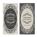 Vintage template set vertical banners with ornamental borders and patterned background. Wedding invitation, Greeting Card.