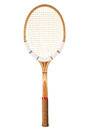 Vintage tennis racket retro wooden isolated on white Royalty Free Stock Photos