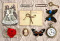 Vintage things nostalgic scrap booking background antique accessories old postcards and scrapbook Royalty Free Stock Image