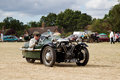 Vintage three wheeled motorcar potten end uk july a morgan supersport wheeler leaves the show ground having given a display to the Stock Images