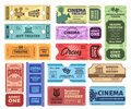 Vintage tickets. Admit one ticket on circus show, cinema movie night admission coupon and theatre tickets vector set Royalty Free Stock Photo