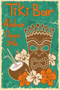 Vintage tiki bar poster hawaiian invitation to Royalty Free Stock Photos