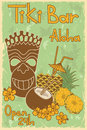 Vintage tiki bar poster hawaiian invitation to Stock Photography