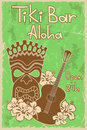 Vintage tiki bar poster hawaiian invitation to Royalty Free Stock Photo