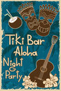 Vintage tiki bar poster hawaiian invitation to night party Royalty Free Stock Images