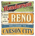 Vintage tin sign collection with USA cities. Henderson. Reno. Carson City. California.
