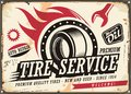 Vintage tin sign for tire service