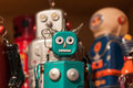 Vintage tinplate robots on display at HOMI, home international show in Milan, Italy Royalty Free Stock Photo