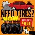 Vintage tire service or garage poster