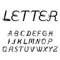 Vintage titular letters. Vector italic alphabet. Black inclined font isolated on white background.
