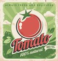 Vintage tomato poster template for farm retro vegetables label design vector old paper texture food background Stock Images